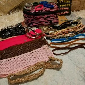 Lot of 25 Hair Accessions + Makeup Bag +NWT Brush